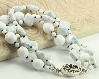 Pale Blue Bracelet White Icy Glacier Snow Summer Fashion Beach Accessory Pastel Beaded Bracelet