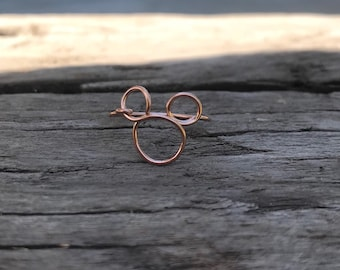 Mouse ring, wire jewelry, mouse wire outline, rose gold, sterling, gold filled wire ring
