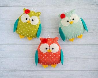 Felt ornament owl ornament Gift for friend Cute owls Christmas gift Nursery decor Felt animal Kids room Kawaii ornament Woodland baby mobile