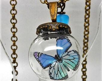 Necklace glass globe blue butterfly transparent Pearl spun