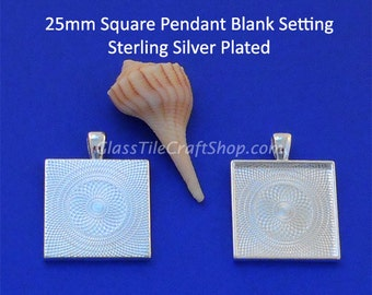 20 Square Pendant Trays - 25mm (1 inch) Sterling Silver Plated. (25MSQTSSP)
