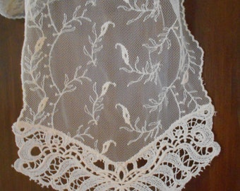 Antique Off White Embroidered Netted/Mesh Lace Runner/Scarf