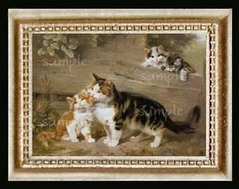 Vintage Cat Miniature Dollhouse Kitten Art Picture 5105