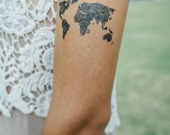 World map tattoo etsy world map temporary tattoo gumiabroncs Choice Image