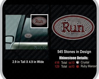 Run Rhinestone Car Decal