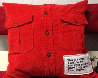 Memory Pillow, Keepsake pillow, Memorial pillows, Maria's Memory Pillows, custom memory pillows, shirt pillow, includes pillow form
