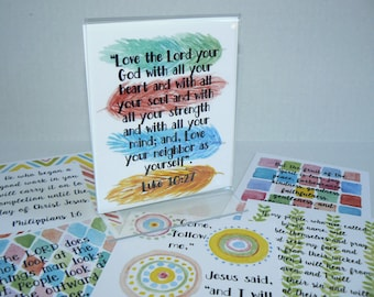 52 bible verse cards Memory verses scriptures The Weekly Word Set 1 Encouragement Promises scripture flash cards watercolor