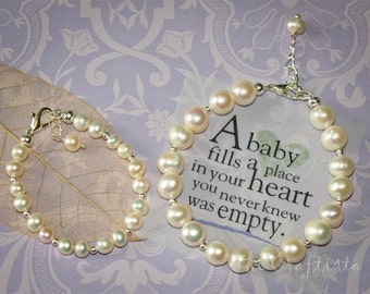 3 Bracelets -- Mother and Daughters Bracelet Set  --  Authentic Fresh Water Pearls -- Mom Baby Set,  Flower Girls and Bridesmaids Set