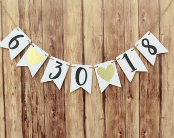 Save the date banner, Engagement Banner, Gold Bridal Shower Decorations, Wedding Date Banner, Save The Date Sign, Engagement Party Ideas