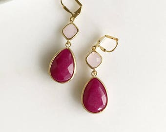 Pink Dangle Earrings. Bridesmaids Earrings with Fuchsia Teardrop and Soft Pink. Pink Drop Earrings Dangle Earrings. Bridesmaid Earrings.