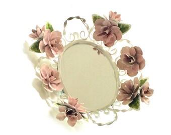 Vintage Toleware Mirror Rose Metal Floral Wall Hanging Mirror or Vanity Tray - Girls Bedroom - Home Decor