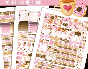 Coffee stickers, Weekly kit printable stickers, Erin Condren horizontal planner stickers, Full box stickers - STC040