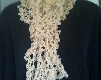 Scarf. scarves. crochet, beige, women, girls