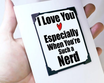 Nerd Love You Card. Greeting Card. Geeky I Love You Card. Nerd Card. Funny Magnet Card. MT035