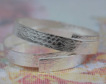 Handmade Lace Textured Silver Bangle - Thick