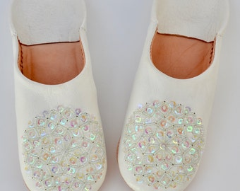 Moroccan Leather Sequin Slippers, White Babouche, Organic Leather Slippers, Womens Babouche, Sheepskin Slippers, Handmade Slippers, Babouche