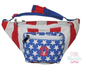 American Patriotic Monogrammed Fanny Pack / Personalized Fanny Pack