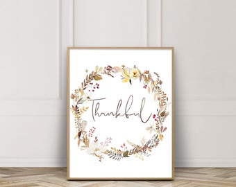Thankful Printable-Thankful Print-Thankful Sign-Thanksgiving Printable-Fall Wreath Print-Grateful Thankful Blessed-Fall-Instant Download