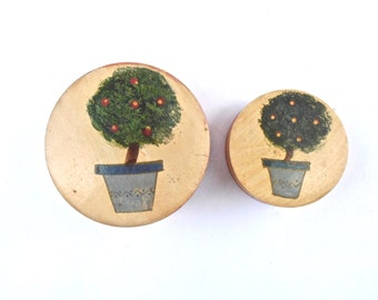 Vintage Apple Tree Painted Nesting Boxes Wooden Round Cases Two Wood Containers Trinket Keepsake Novelty Vanilla Planter Green Vase