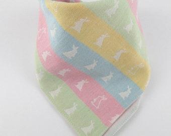 Baby gift girl, bandana baby bib, baby girl bib, cotton bib, dribble bib, toddler bib, reversible bunny