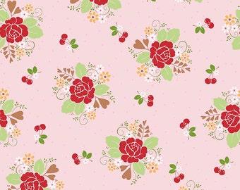 Sew Cherry 2 Fabric - Pink - Lori Holt Fabric - Riley Blake Sew Cherry Fabric By The 1/2 Yard