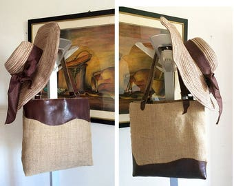 natural jute and leather shoulder bag with different italian design on both sides of the tote bag, leather strap, handmade in Italy