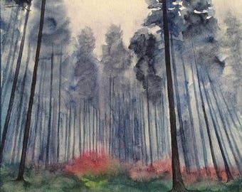 Forest painting, misty forest, pine forest painting, forest watercolor, misty tree painting, tall trees painting, foggy forest painting