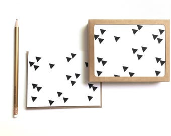 greeting card set: geometric black and white cards, pentagons, triangles, swiss cross, grid, lines