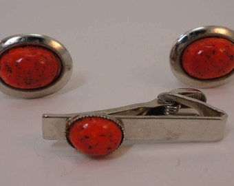 60s Cufflinks Set Silvertone/Speckled Coral Lucite Cabochons