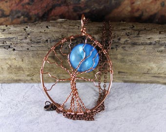 Blue Moon tree of life necklace, Once in a Blue Moon necklace, Full Moon jewelry, Pagan jewelry, Icy blue, New Moon necklace, Pagan gift
