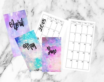Personal April May June Weekly week on 2 Pages Planner Printable Inserts