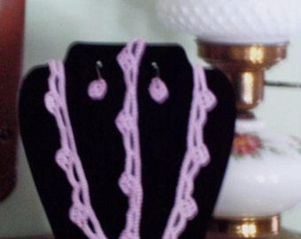 3 Peice Lavender Crocheted Jewlery Set