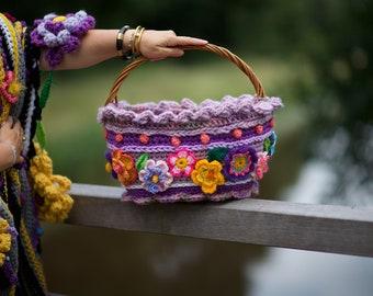 Crochet Basket polleviebag Purple shopping basket Flea Basket
