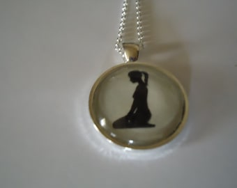 Submissive/ Slave Heart Necklace (kneeling silhouette)