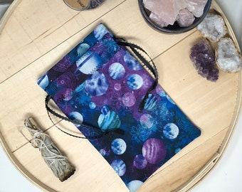Planets Tarot Bag, Tarot Pouch, Tarot Card Pouch, Tarot Card Holder, Tarot Deck Box, Runes, Runes Bag, Witchcraft, Constellations