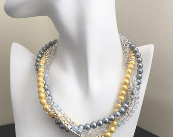 Bridesmaid Jewelry Grey Necklace Yellow Necklace Pearl Necklace Multistrand Pearl Necklace Wedding Jewelry Gift for Her Mother of Bride Gift