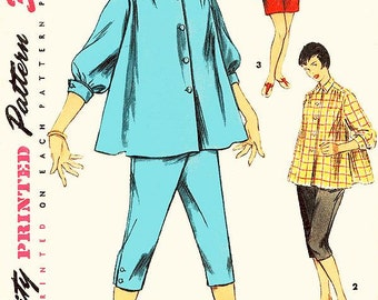 Vintage 1950s Maternity Pattern - Simplicity 1027 - Misses' Flared Shirt-Blouse, Toreador Pants/Capri Pants or Shorts - SZ 14/Bust 32
