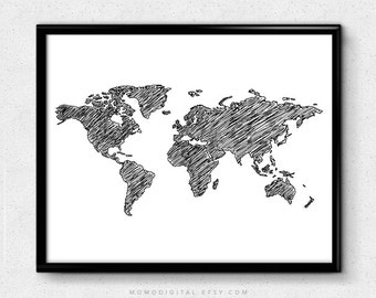 sale sketched world map black white modernism doodle hand drawn doodle dorm wall print office decor modern home nursery