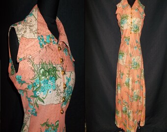 PINK Metallic Floral DISCO Vintage 1970's Women's MAXI Dress S M