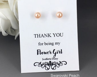Swarovski Pearl Earring 6mm Tiny Peach Pearl  Stud Earrings Flower Girl Gift Flower Girl Earrings Flower Girl Jewelry Peach Earrings