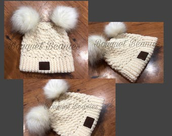 Cream Crocheted Winter Hat with Cream Pom with Black Tips Pom
