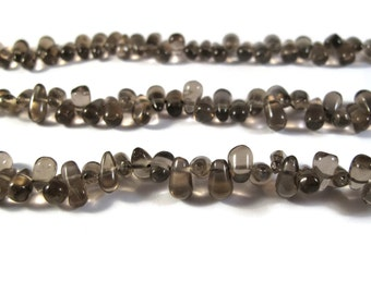 Natural Smoky Quartz Briolette Beads, Smooth & Polished Top Drilled, Brown Gemstone Beads, 13 Inch Strand (S-Sq5)