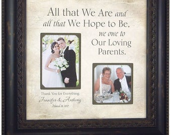 Gift for Family Parents Mother Father, Personalized Wedding Gift, ALL THAT WE Are, Mother Father of the Bride Groom, 16 X 16