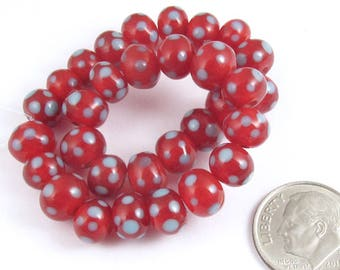 Rondelle Lampwork Glass Beads-Red + Light Blue Dots (30 Pieces)