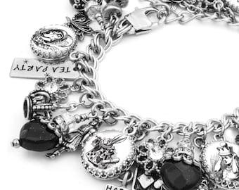 Alice Charm Bracelet, Silver Charm Bracelet, Alice in Wonderland Jewelry, Mad Hatter Jewelry, White Rabbit Jewelry