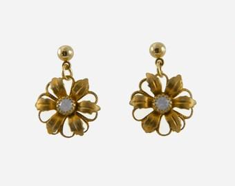 Rose Opal Flower Earrings