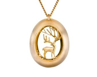 Christmas deer necklace, Gold deer necklace, Deer pendant, Christmas gift necklace, Artisan necklace,14K Gold necklace, art necklace