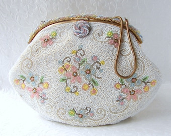 WALBORG French Beaded Purse White Glass Bead Formal Wedding Handbag Ornate Gold Frame Pink Yellow Blue Green Floral Hand Made In France
