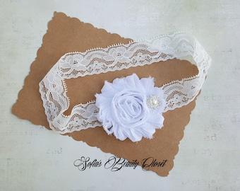 Baptism headband, White headband, Lace headband, Lace headband baby, Newborn headband, Infant headbands, Flower headband, Preemie headbands