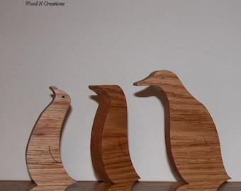 Penguin Trio - Animal Decor - Home or Office Decor - Three Penguins